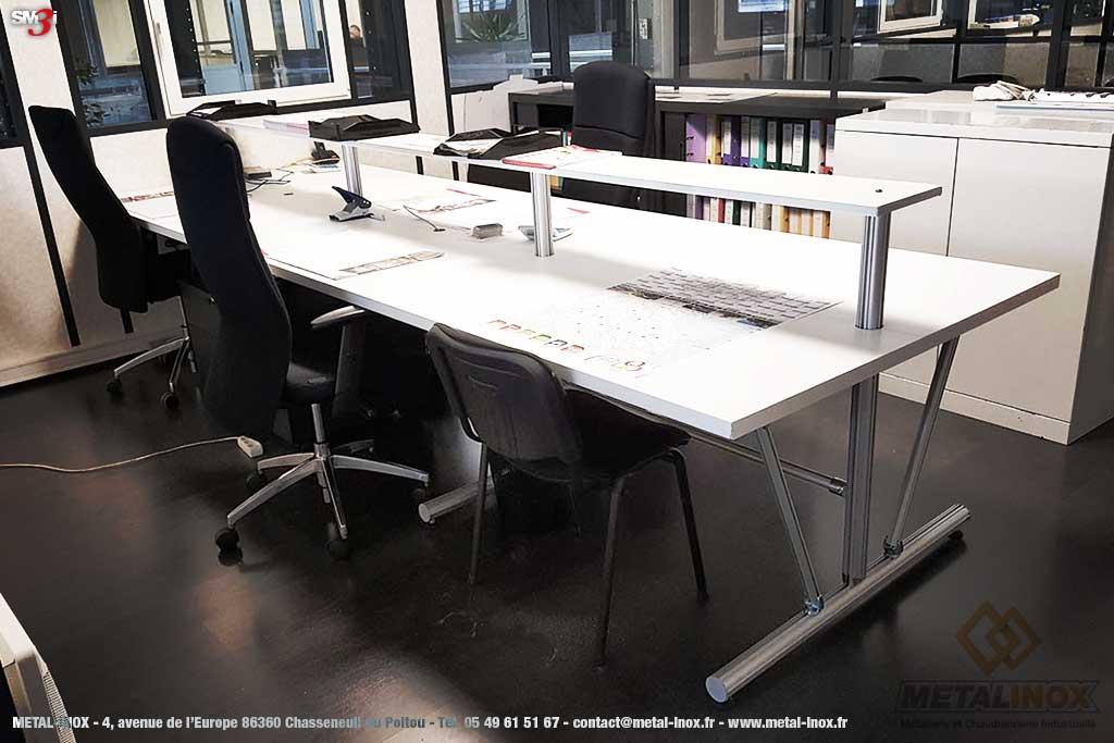 Bureau ergonomique LeanConcept avec tablette supérieure METALINOX