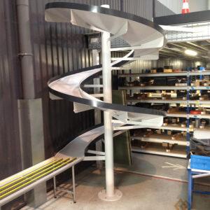 Convoyage + Toboggan industriel - Vue du bas - METALINOX