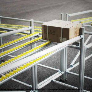 Couloirs de convoyage à galets sur structure Leanconcept METALINOX