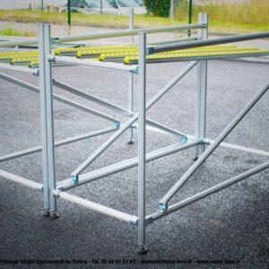 Couloirs de convoyage à galets sur structure Leanconcept - METALINOX
