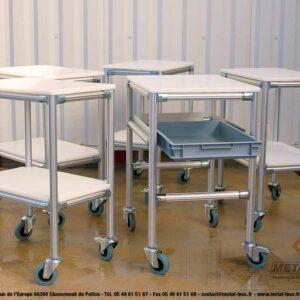 Desserte-4-roues-dont-1-frein-2-niveaux-en-PEHD+bac-600x400-mm-extractible-LeanConcept-1-METALINOX