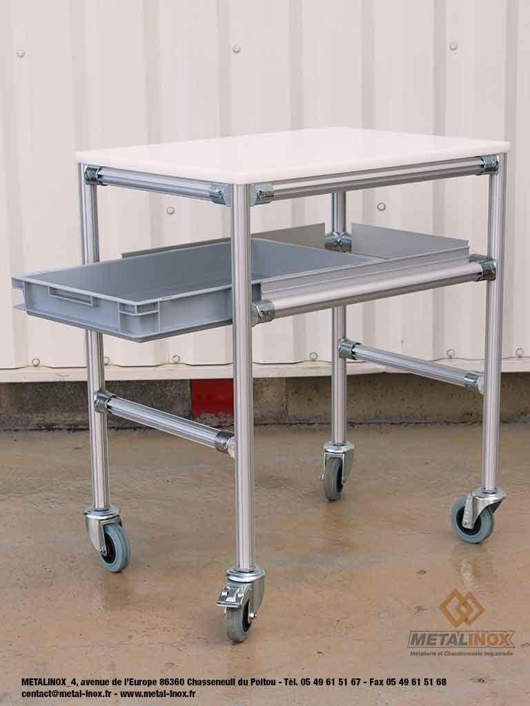 Desserte-4-roues-dont-1-frein-avec-bac-600x400-mm-extractible-LeanConcept-1-METALINOX