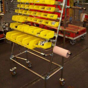 Desserte outils et bacs sur base lean inox - Mobilier & Aménagement industriel - METALINOX 2