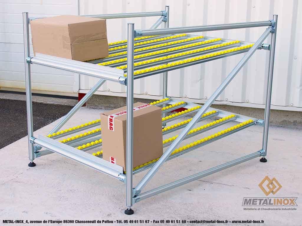 Meuble de convoyage 2 niveaux pour picking Statique LeanConcept METALINOX