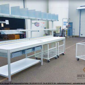 Poste d'emballage - Lean Concept - Balance + Séparateur cartons + Bras extensible + Tiroirs compartimentés 6 - METALINOX