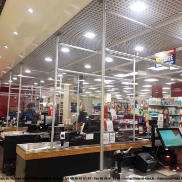 Protection anti-projection - Supermarchés -COVID 19 - PMMA et LeanConcept - 2 - METALINOX