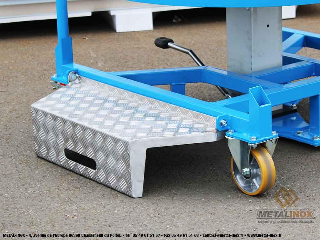 Table élévatrice rotative à pompe à pied + marche-pieds - 2 - METALINOX