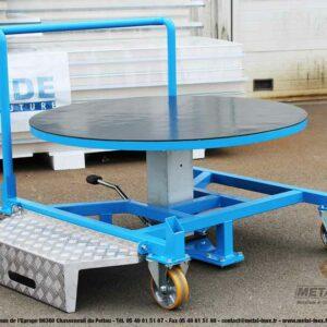 Table élévatrice rotative à pompe à pied + marche-pieds - 3 - METALINOX