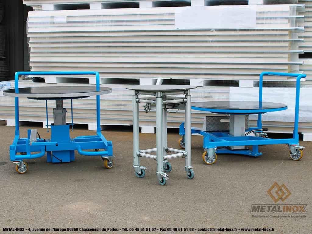 Tables élévatrices manuelles & rotatives Leanconcept, à manivelle et à pompe à pied - METALINOX