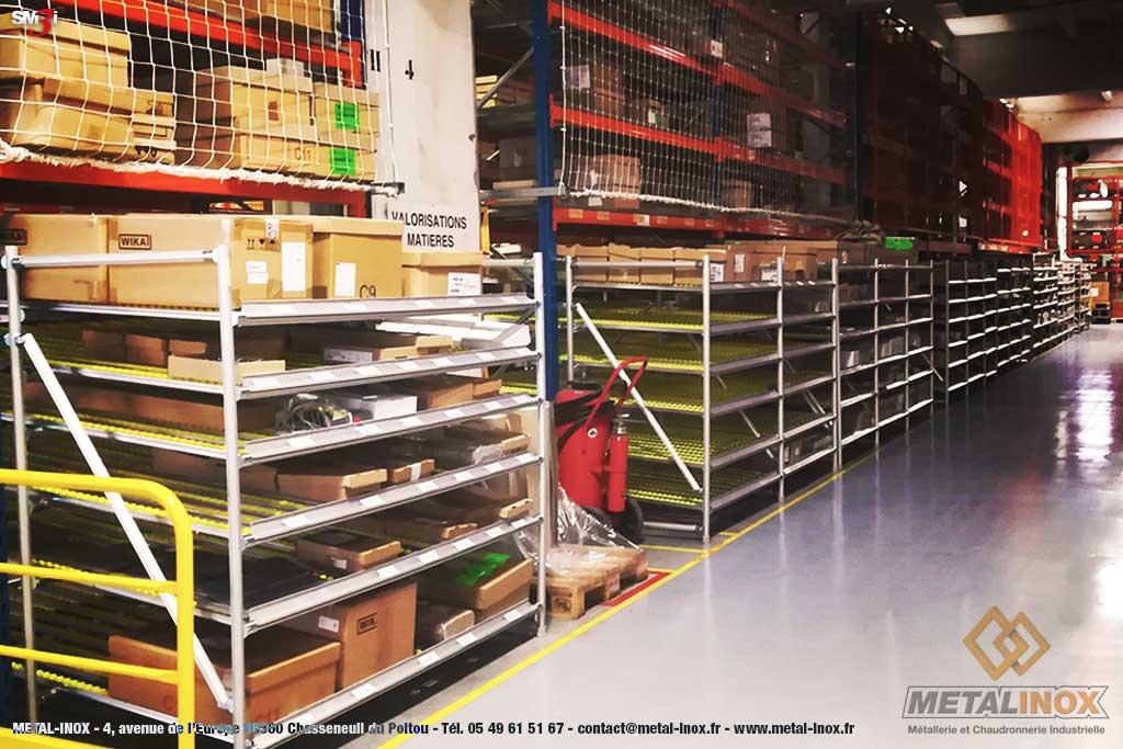 Meuble LeanConcept Convoyage a galets cartons sous rack picking METALINOX