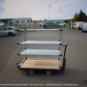 Chariot monotrace 4 niveaux plein pour bacs METALINOX