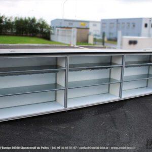Poste de travail d'angle avec 3 niveaux de stockage METALINOX